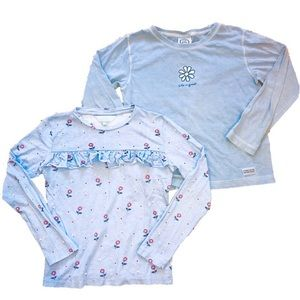 Two Sky Blue Girl's Tops Size Medium 10/12 Years